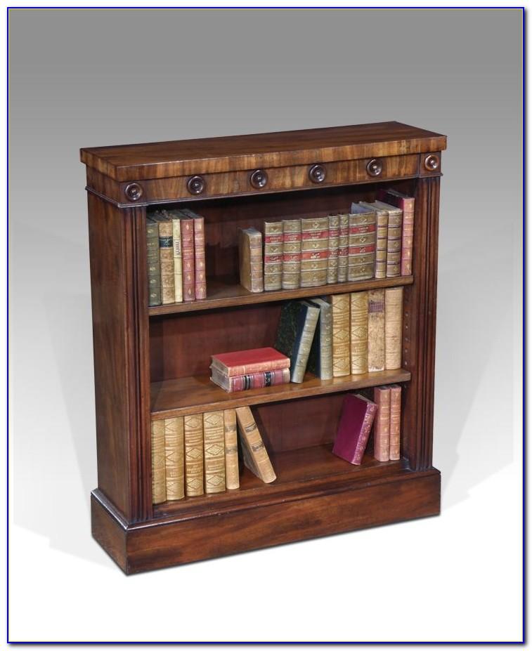 Antique Wood Bookcase Glass Doors