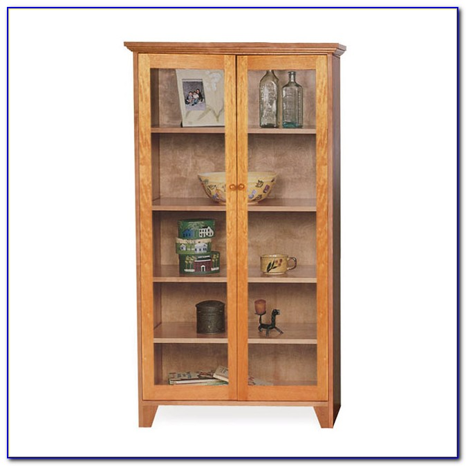 Antique Wood Bookcase With Glass Doors