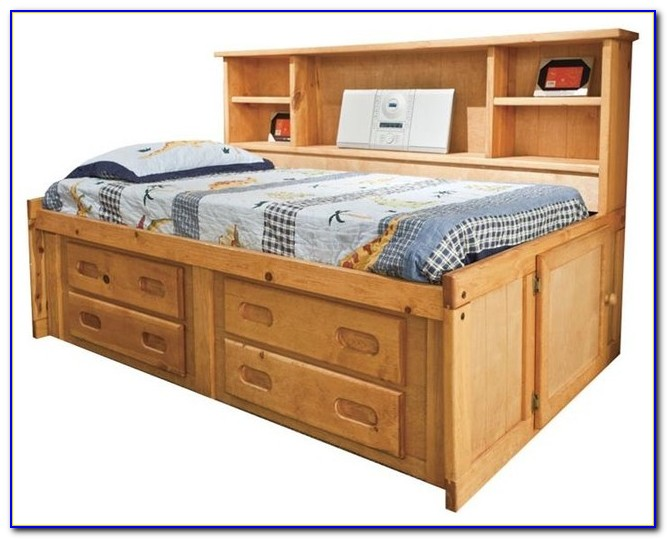 Bookcase Captains Bed With Trundle
