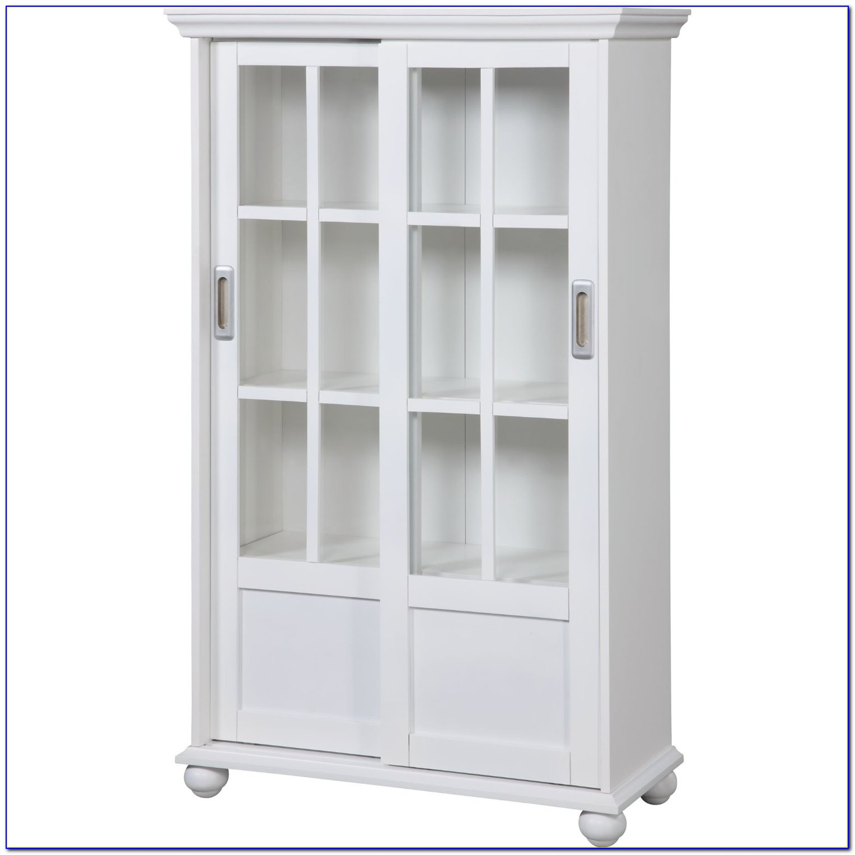 Bookcase Glass Doors White