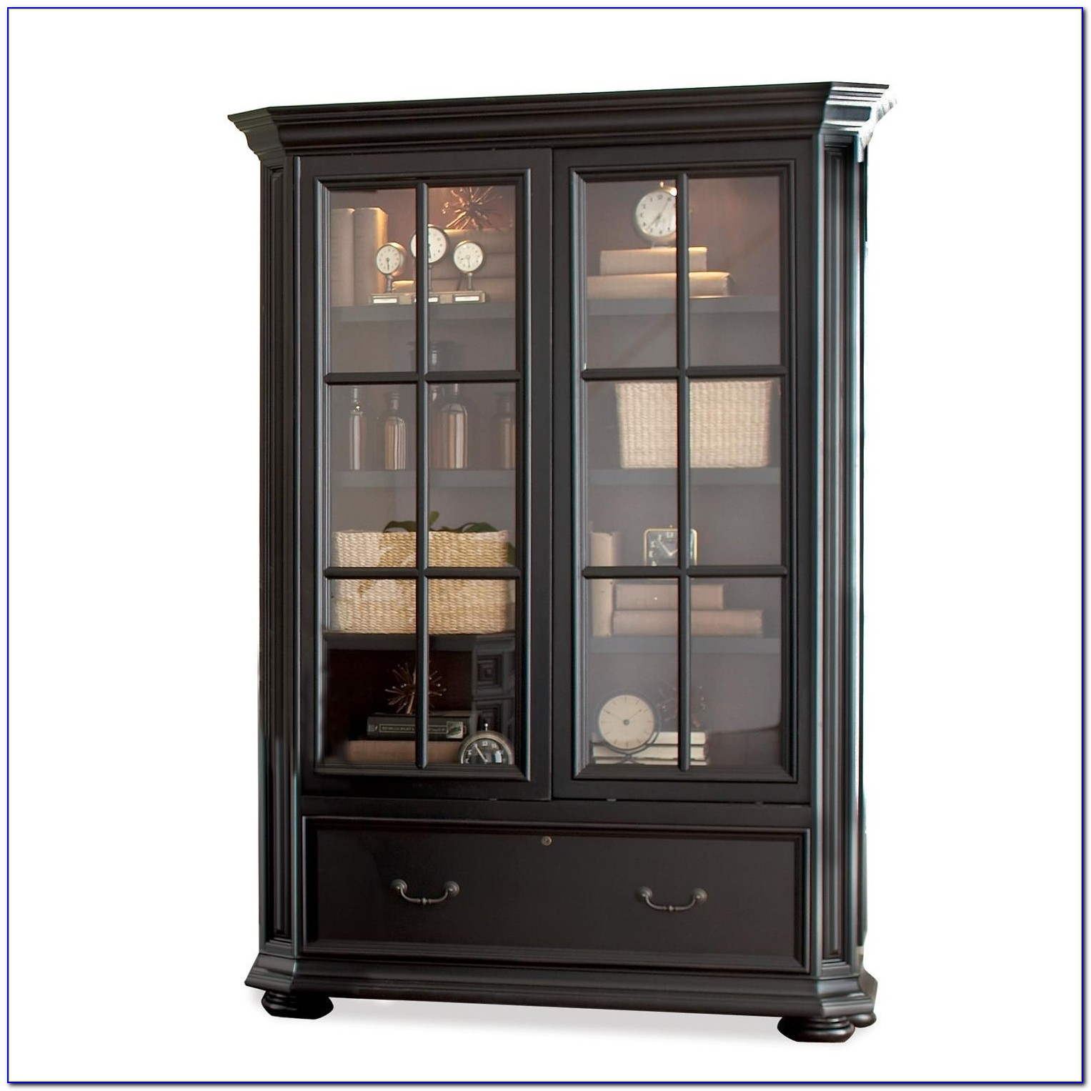 Bookcase With Sliding Glass Doors Black