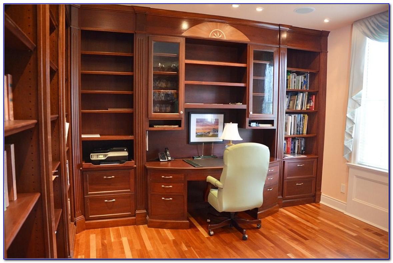 Bookshelf With Desk Built In