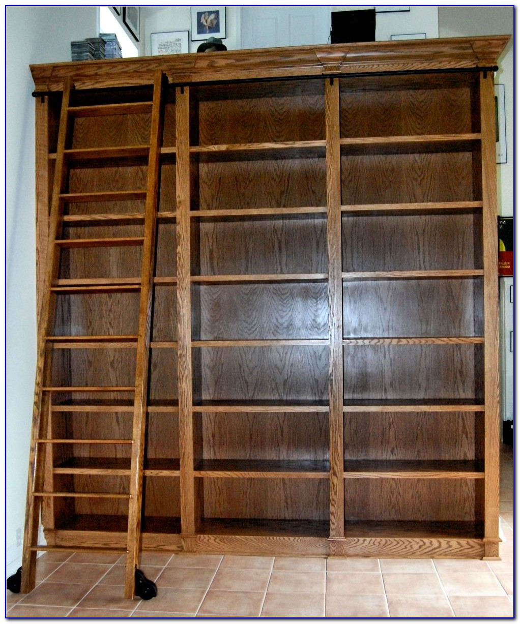 Bookshelf With Rolling Ladder