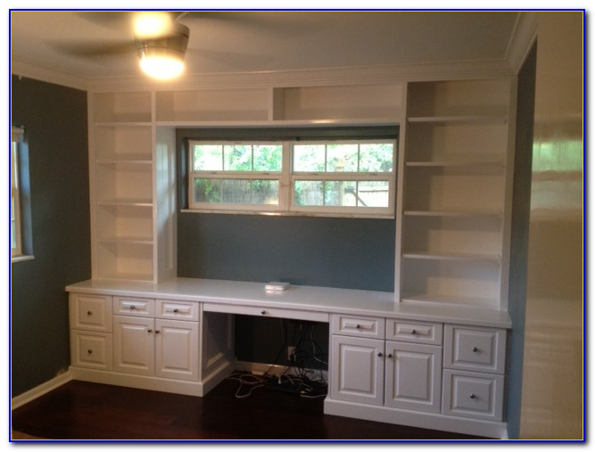 Built In Bookcases With Computer Desk