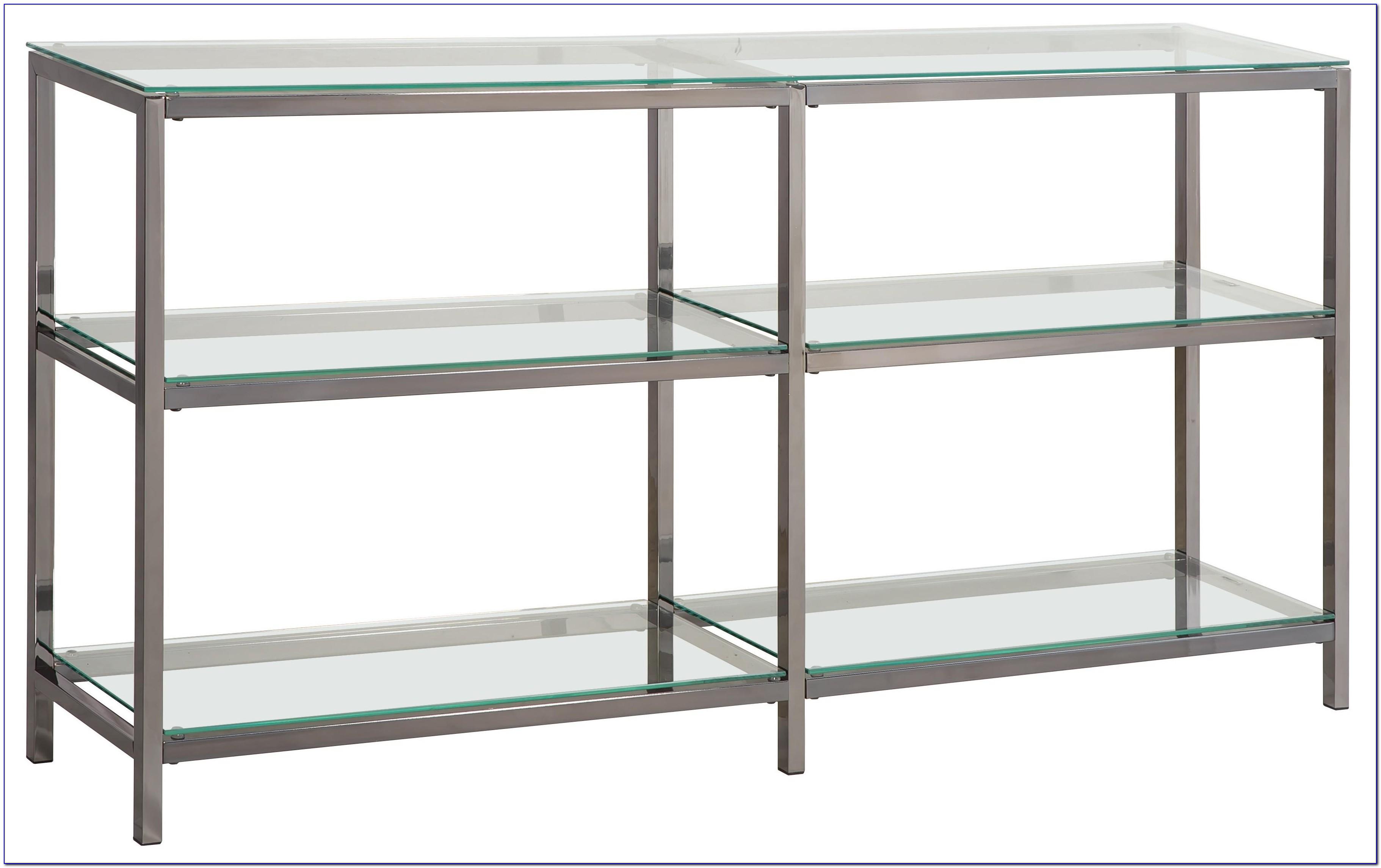 Chrome Bookcase Glass Shelves