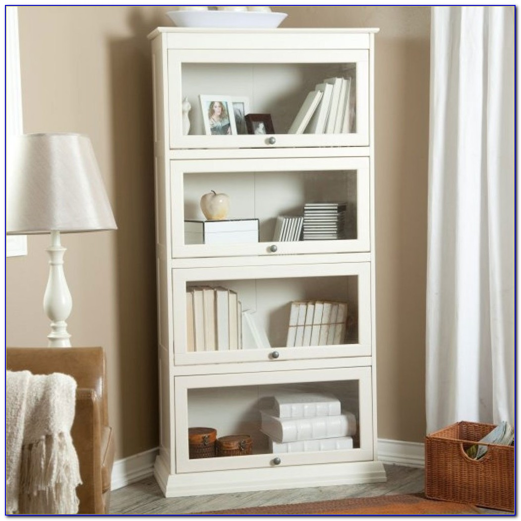 Contemporary White Corner Bookcase