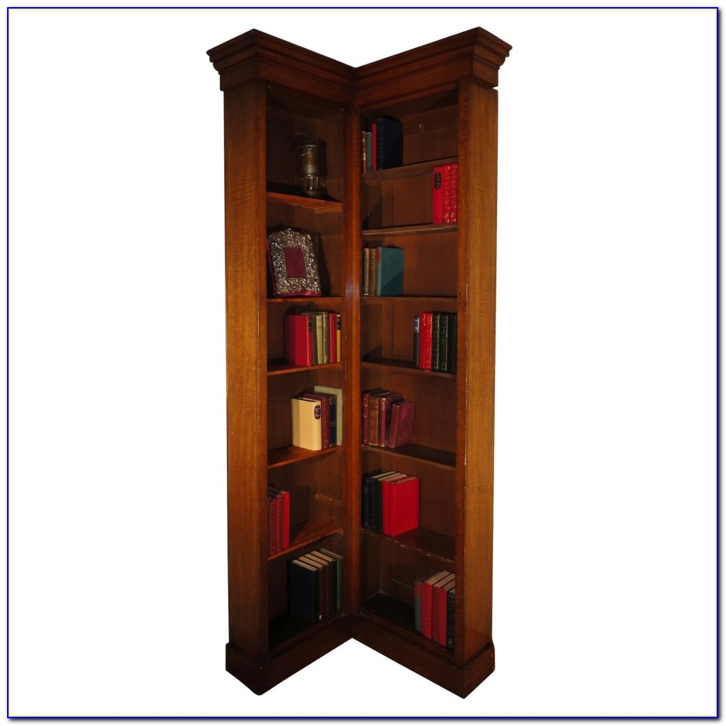 Contemporary Wooden Corner Bookcase
