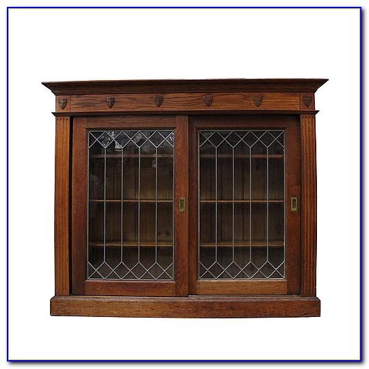 Dark Oak Bookcase With Glass Doors