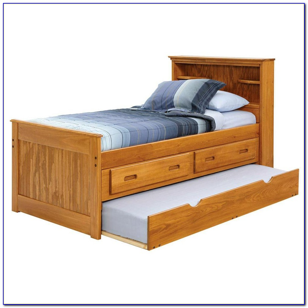 Full Captains Bed With Bookcase Headboard