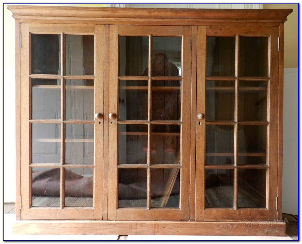 Glass Fronted Wooden Bookcases