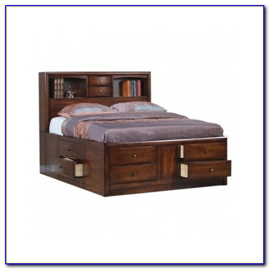 King Bed With Bookshelf Headboard