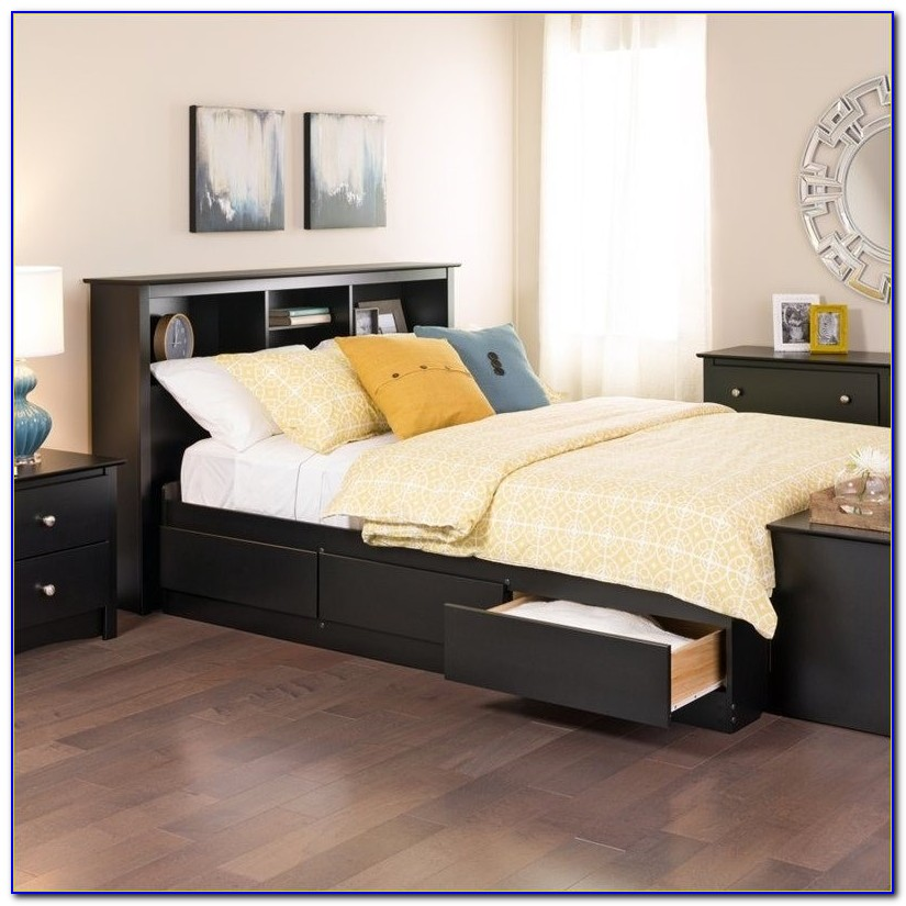 King Platform Bed With Bookcase Headboard