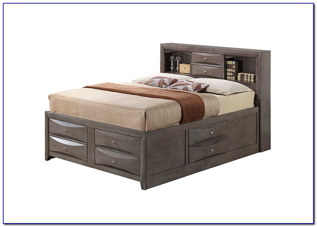 King Single Bed With Bookcase Bedhead