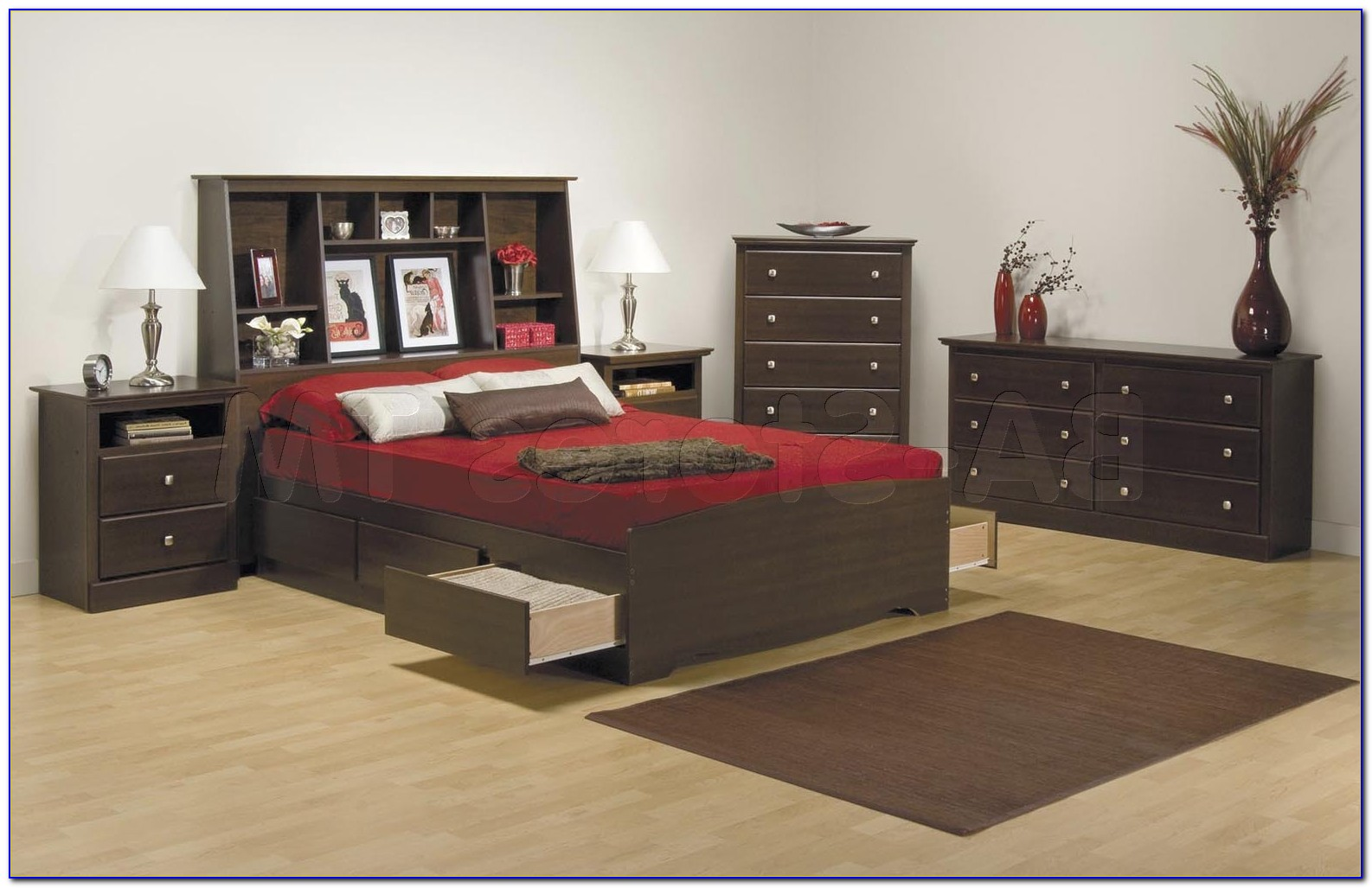 King Size Bookcase Headboard Bedroom Sets