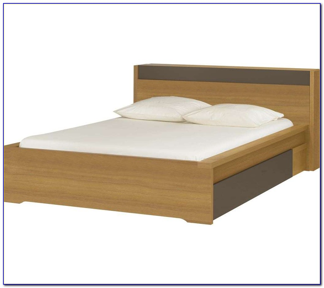 King Size Platform Bed Bookcase Headboard