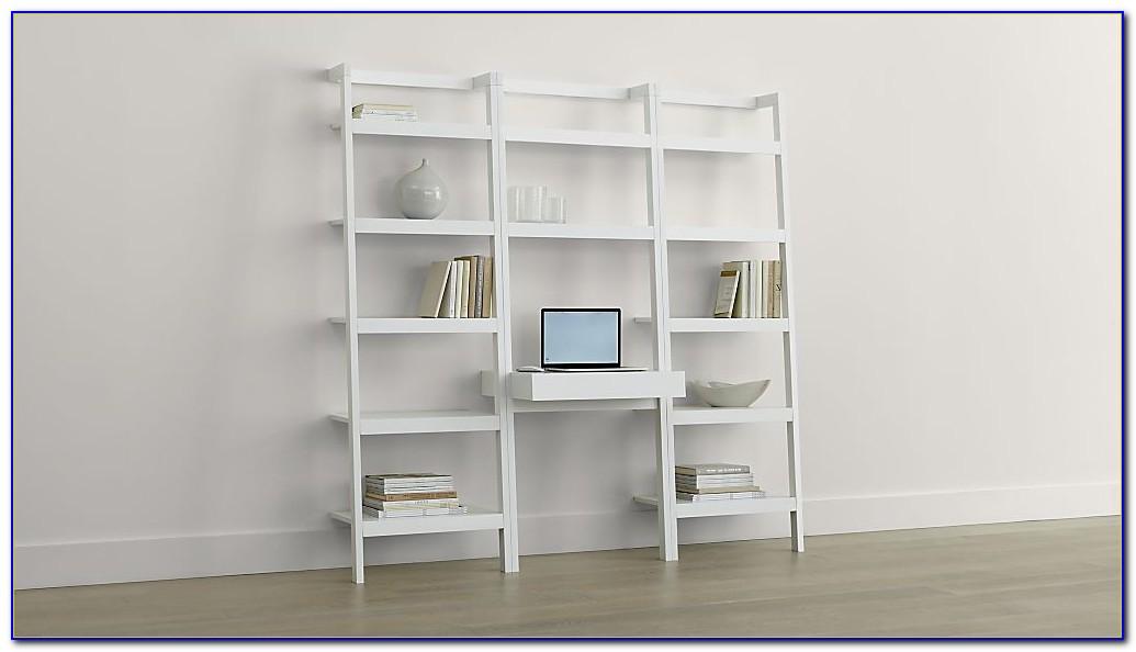 Leaning Bookcase Desk White