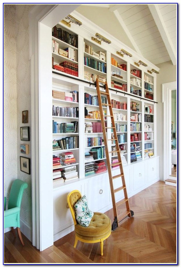 Library Bookcase With Rolling Ladder
