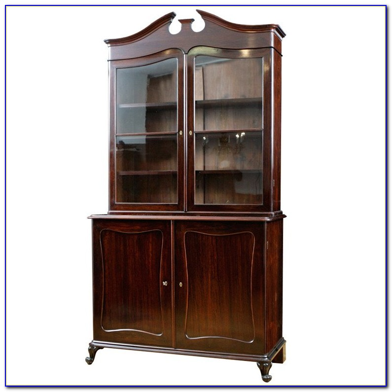 Louis Philippe Bookcase W Glass Doors