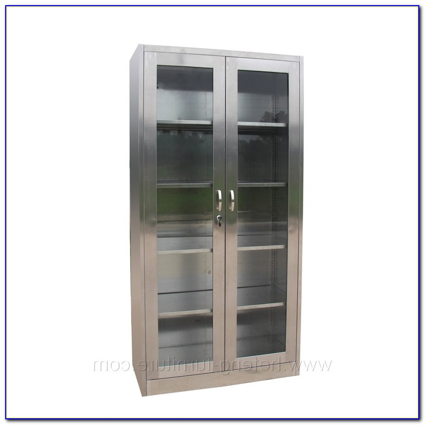 Metal Bookcase With Sliding Doors