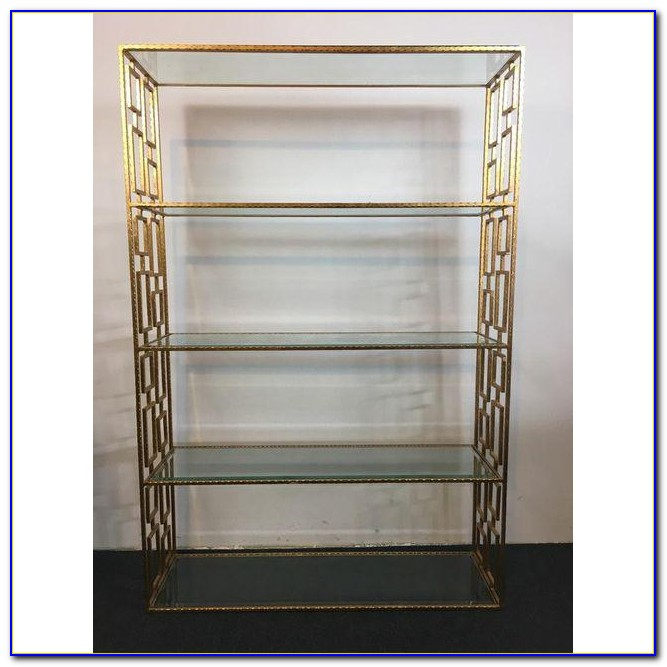 Modern Glass Metal Bookcase