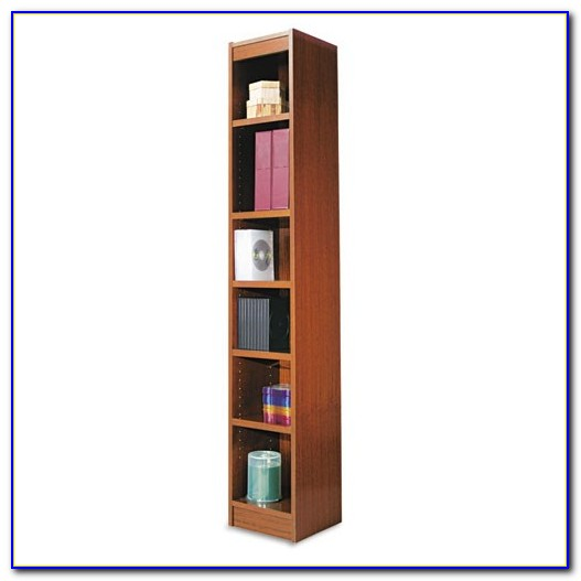Narrow Dark Wood Bookcase
