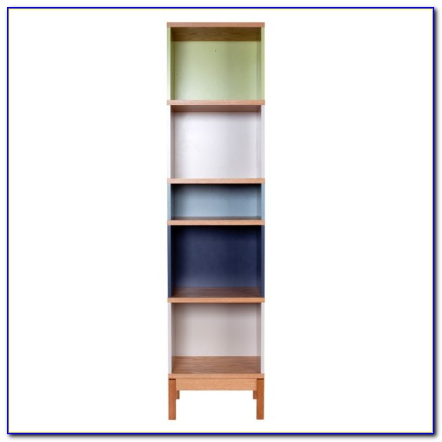 Narrow White Wood Bookcase