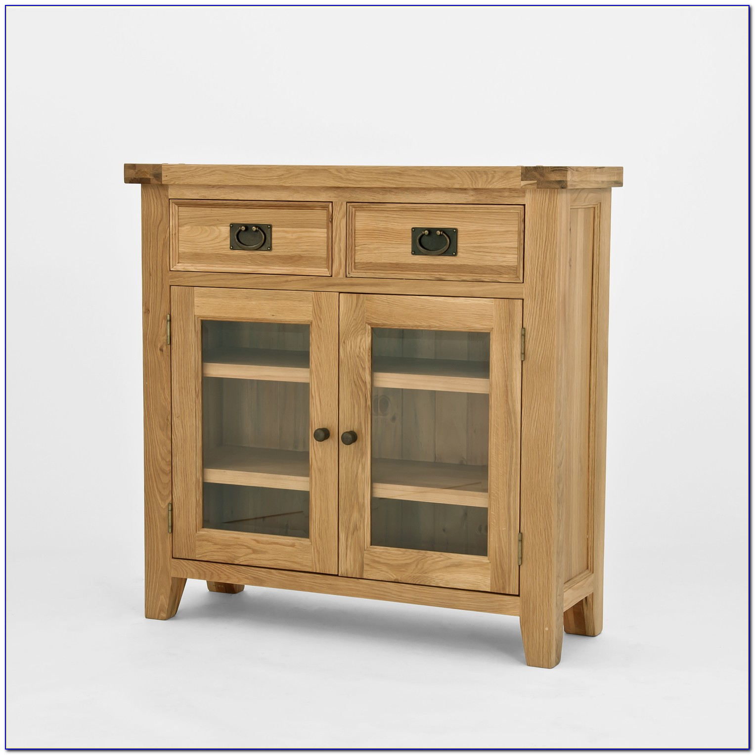 Oak Bookcase With Glass Doors Antique