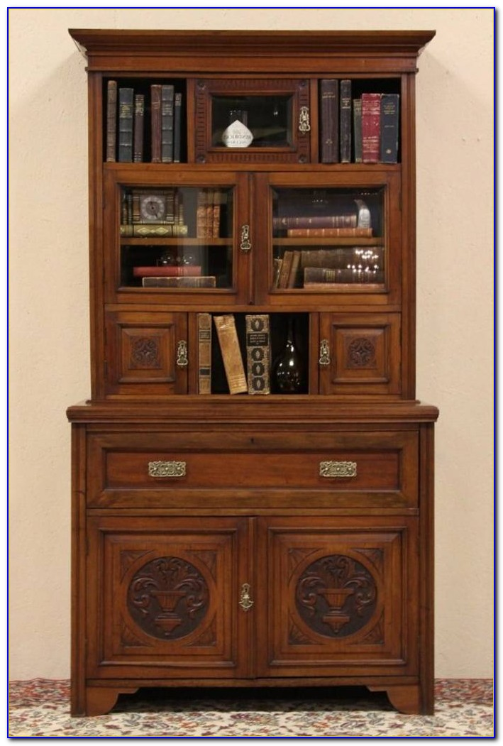 Oak Secretary Desk With Bookcase