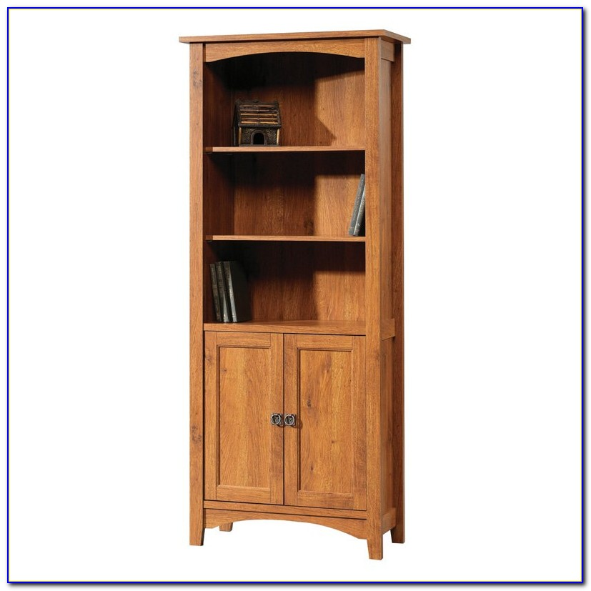 Oak Veneer Bookcase With Doors
