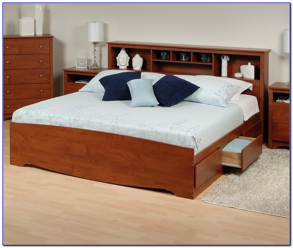 Platform Bed With Side Bookcase