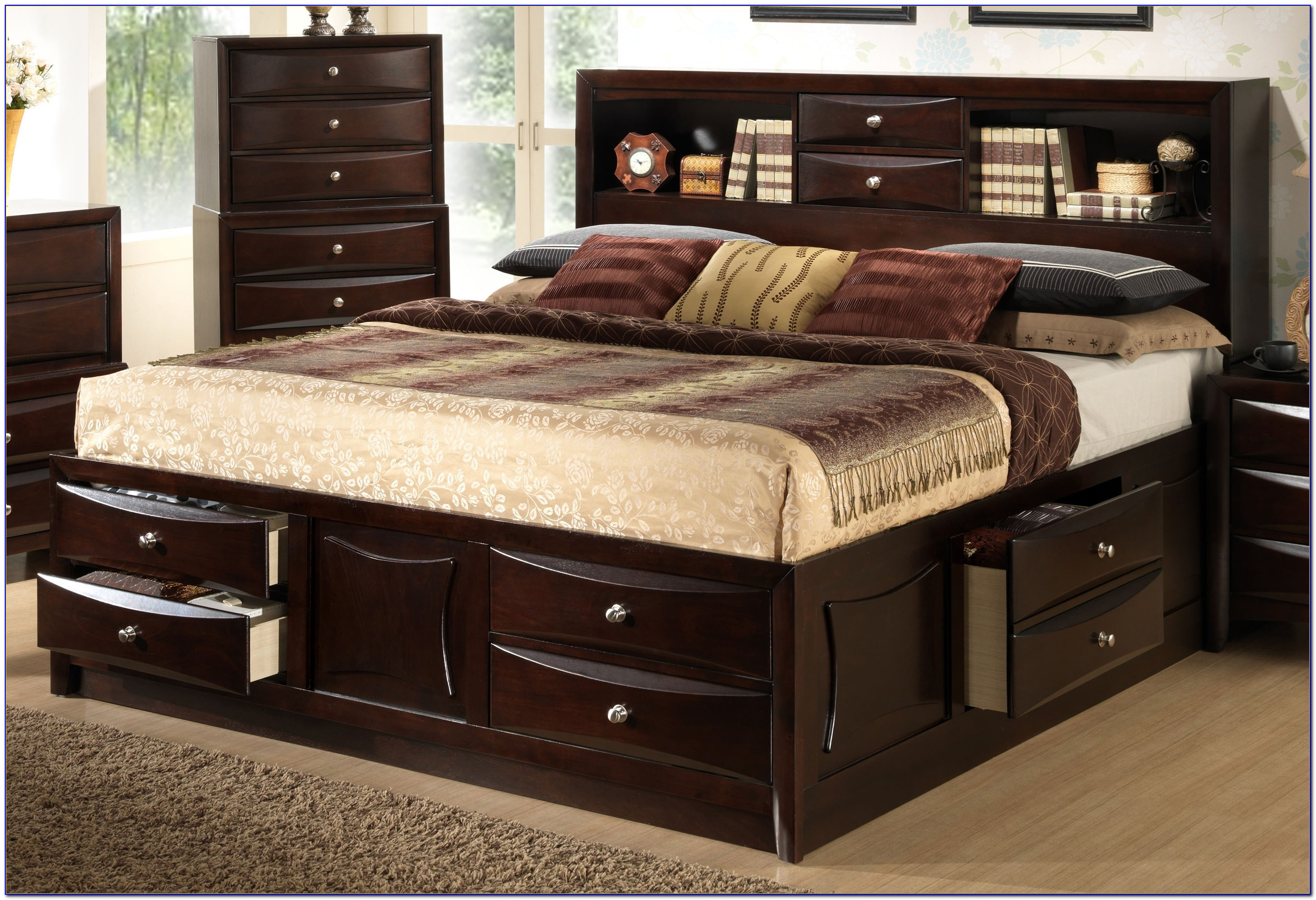 Queen Bookcase Platform Storage Bed