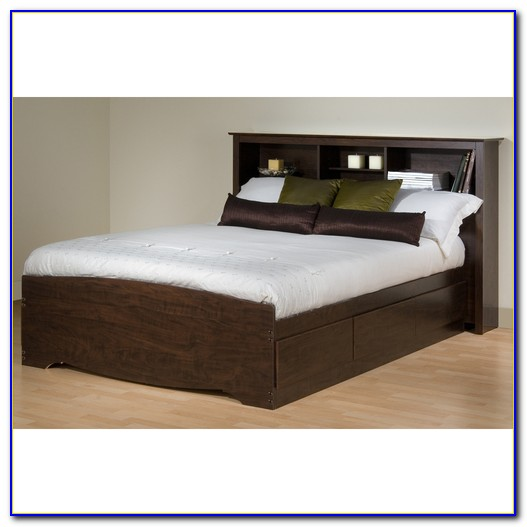 Queen Platform Bed With Bookcase Headboard