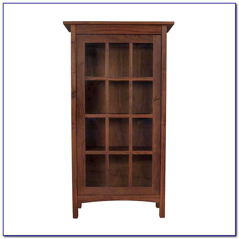 Real Wood Bookcase With Glass Doors