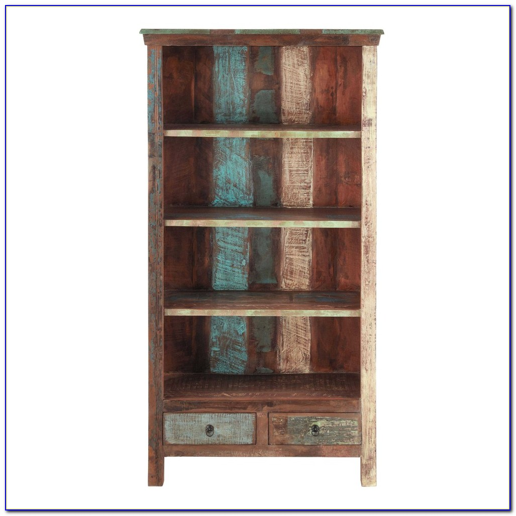 Reclaimed Wood Bookcase With Doors