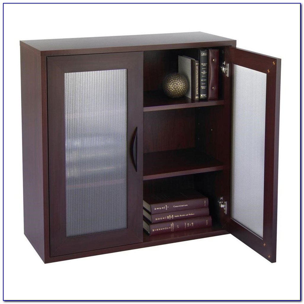 Short Bookcase With Glass Doors