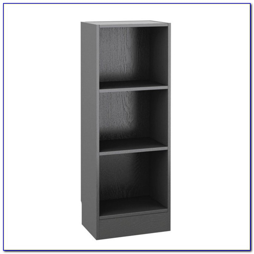 Short Narrow Black Bookcase