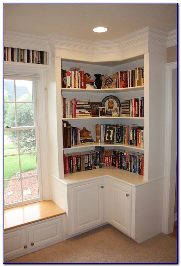 Short White Corner Bookcase