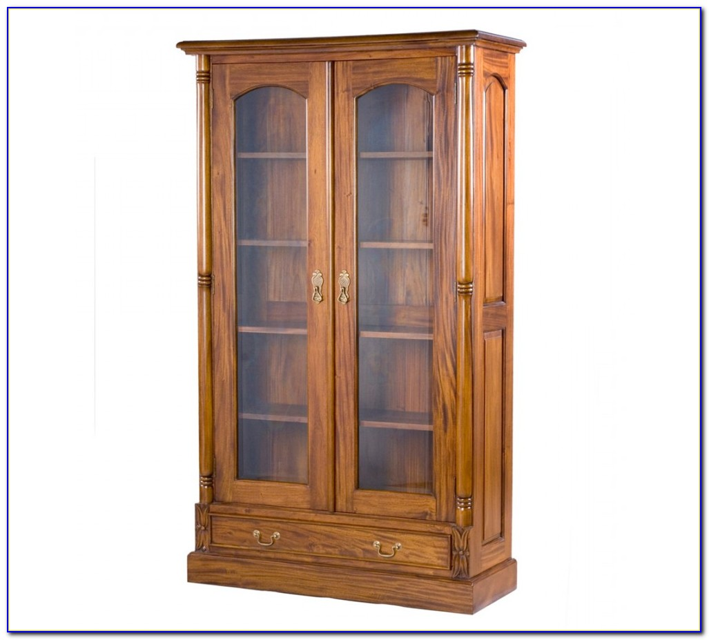Small Oak Bookcase With Glass Doors