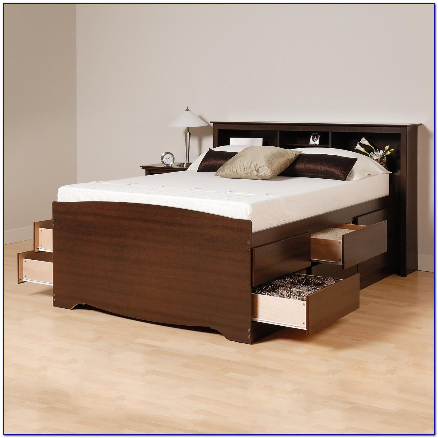 Solana Platform Bed With Bookcase Headboard