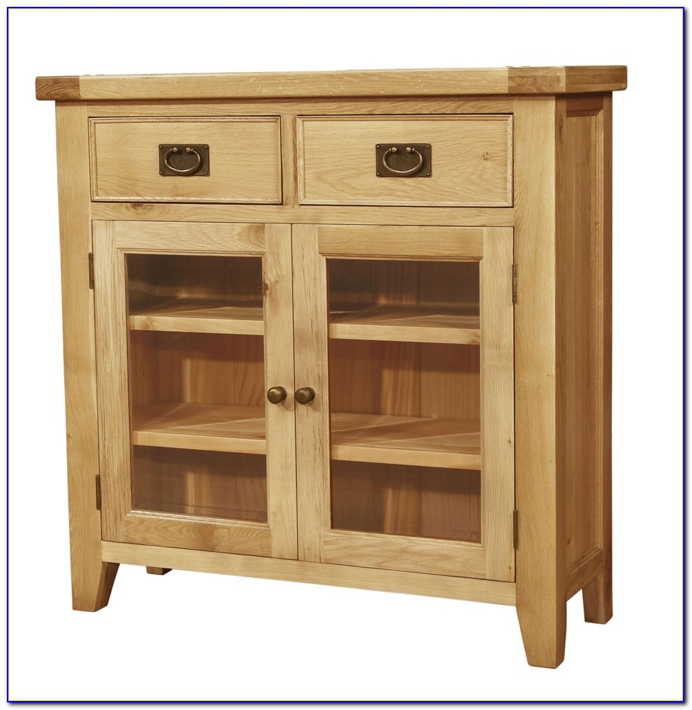 Solid Oak Bookcase With Glass Doors