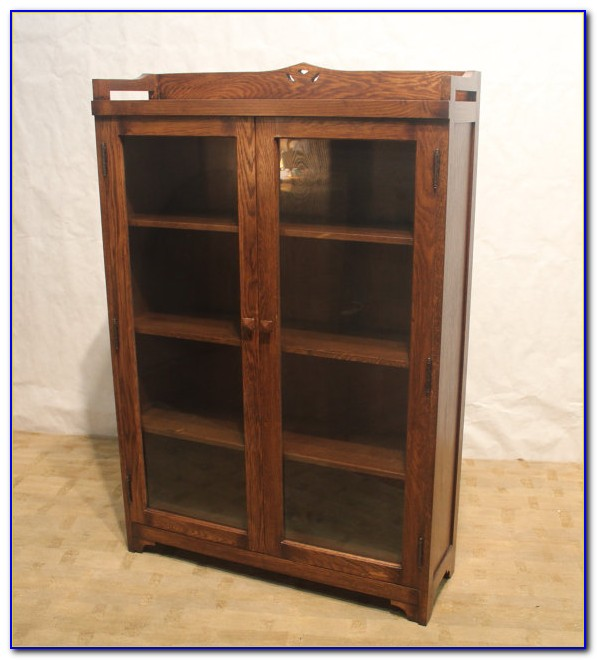 Solid Oak Bookcases With Glass Doors