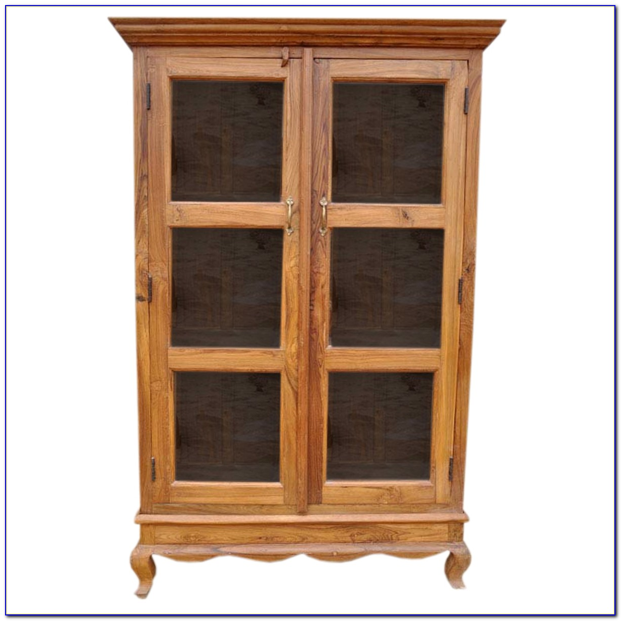 Solid Wood Bookcase With Sliding Glass Doors