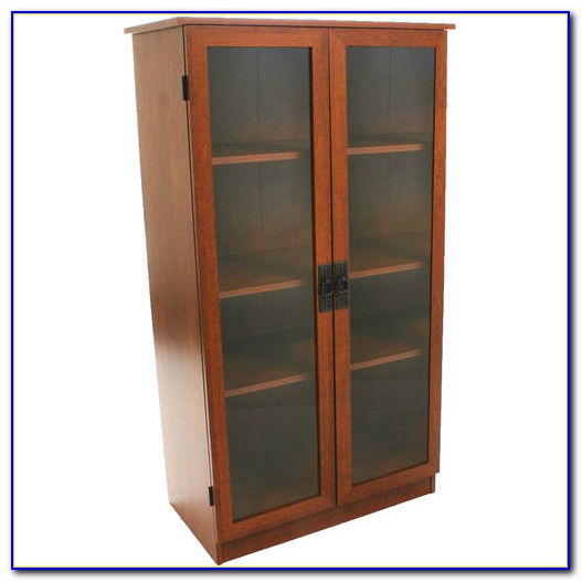 Storage Bookcase With Sliding Doors