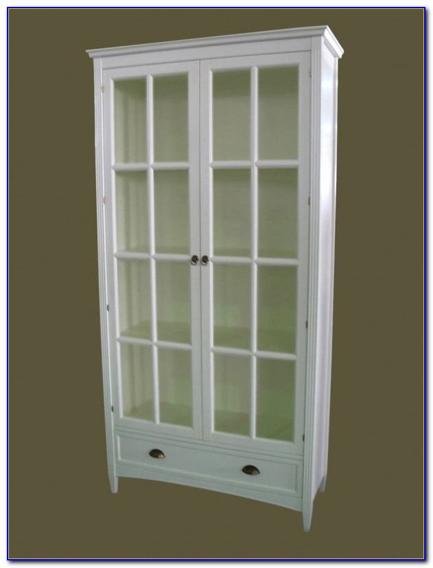 Tall Bookcase With Glass Doors And Drawers