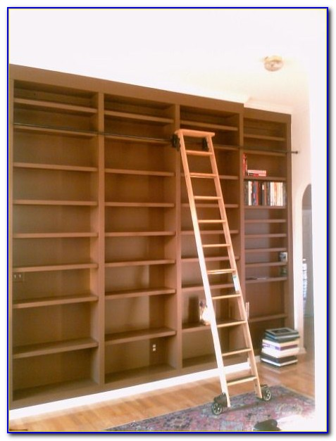 Tall Bookcase With Rolling Ladder