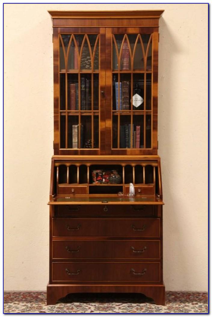 Tiger Oak Secretary Desk Bookcase Curio