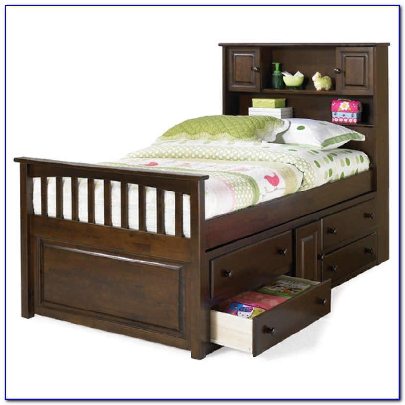 Twin Bookcase Captains Bed With Trundle