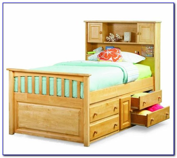 Twin Captains Bed With Bookshelf Headboard