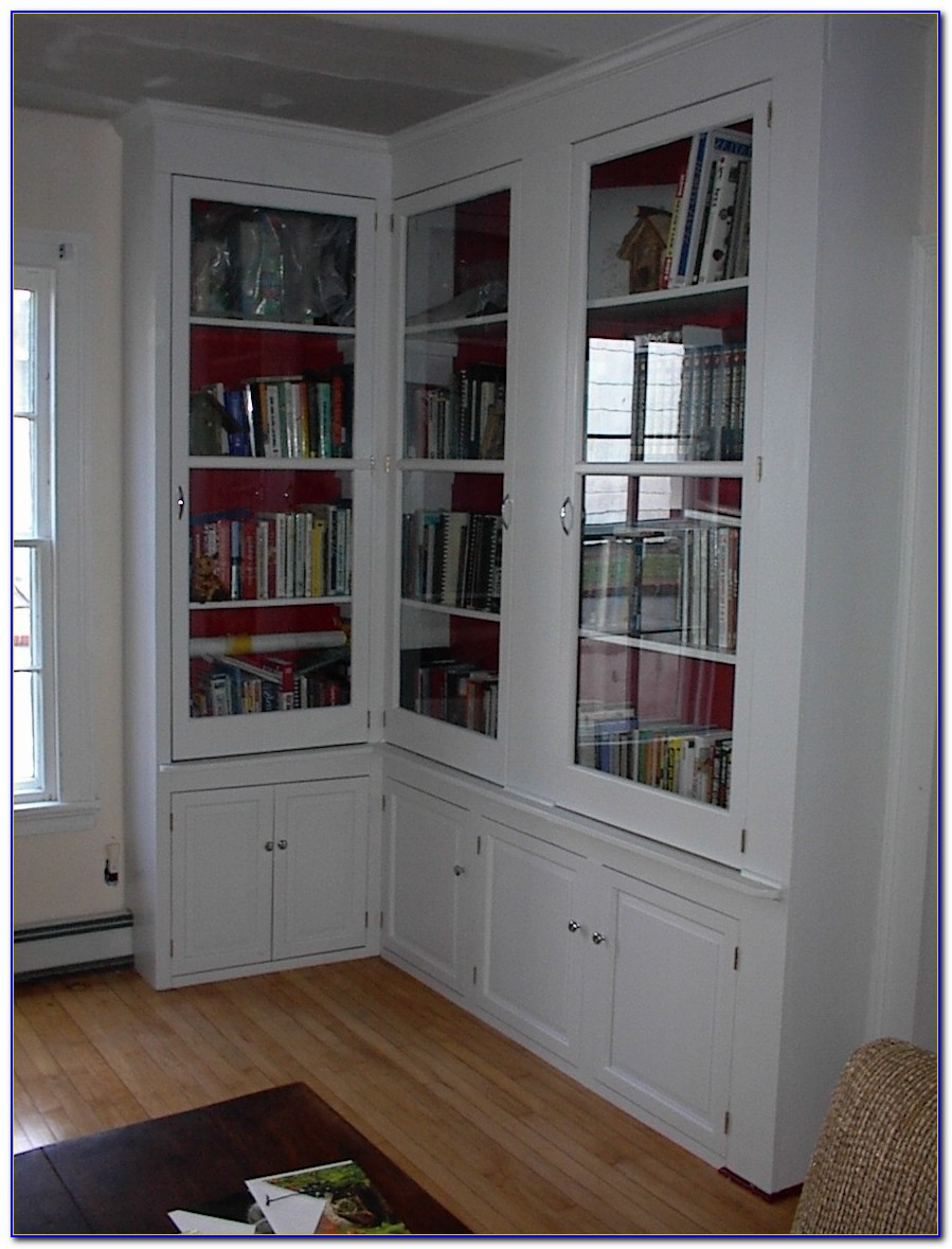 White Bookcase Cabinet With Glass Doors