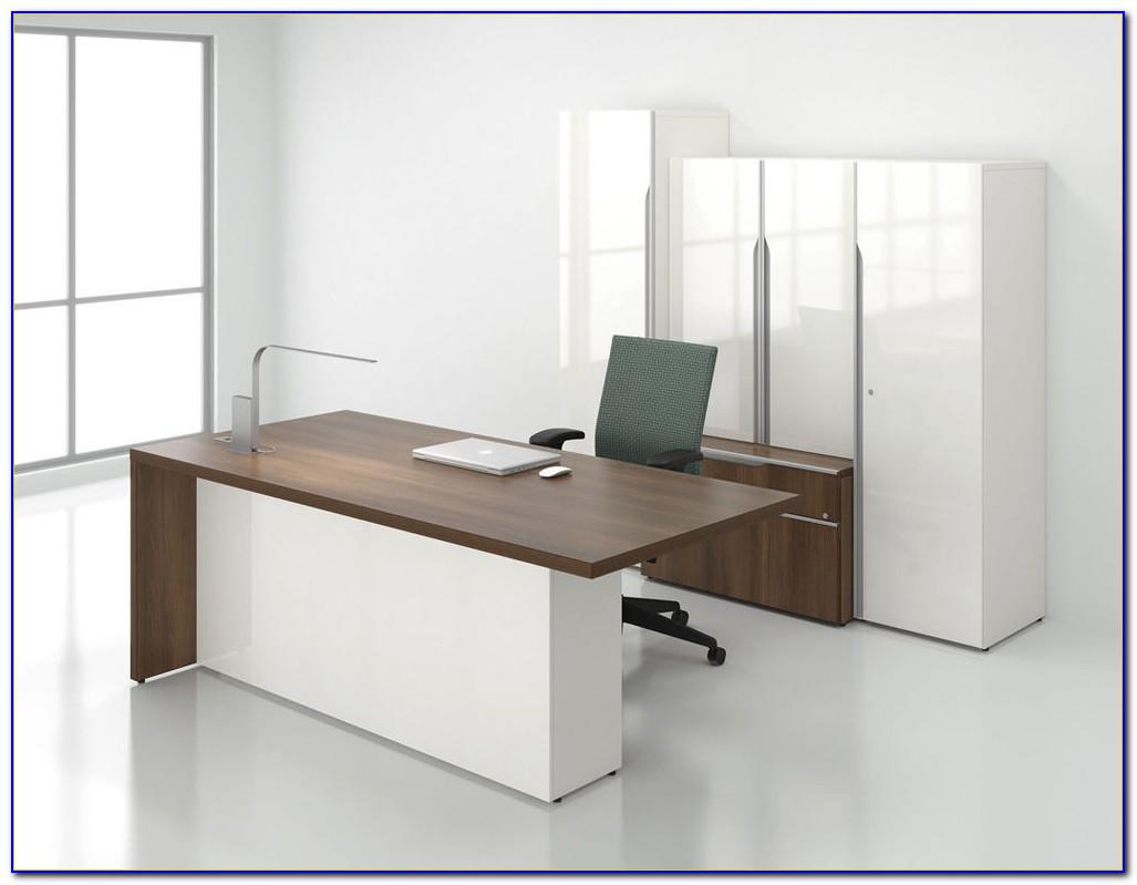 White Desk With Bookcase Hutch